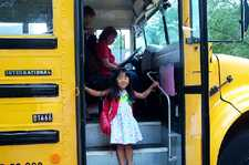 Katie's first day of school and the BUS!!
