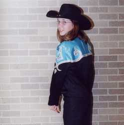 "Emily sewing project was ""sewing for others"" She made an outfit for Erin to wear for her showmanship with her horse Gator."
