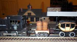 A special 'Custom Tender' for the yard engine to pull the vintage Dewitt Clinton.